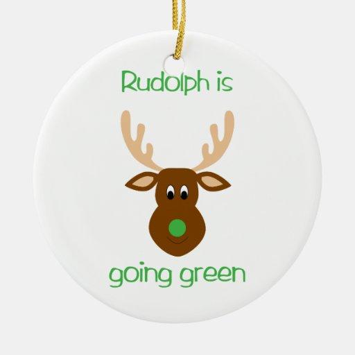 Rudolph es ornamentos verdes del navidad que van adorno de reyes