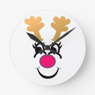 Rudolph Face Round Clock