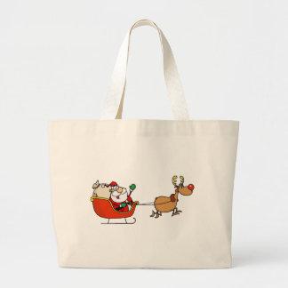 Rudolph Flying Kris Kringle In His Sleigh Bags