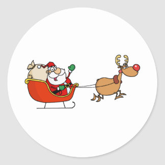 Rudolph Flying Kris Kringle In His Sleigh Classic Round Sticker
