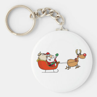 Rudolph Flying Kris Kringle In His Sleigh Keychain