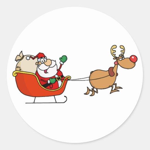 Rudolph Flying Kris Kringle In His Sleigh Round Sticker