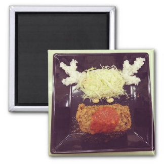 """Rudolph"" Food Face 2 Inch Square Magnet"