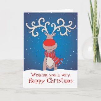 Rudolph Happy Christmas card soft blue back card
