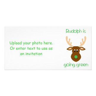 Rudolph is going green Christmas gifts and tees Photo Cards