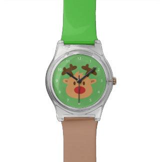 Rudolph lindo el reno sospechado rojo para los relojes