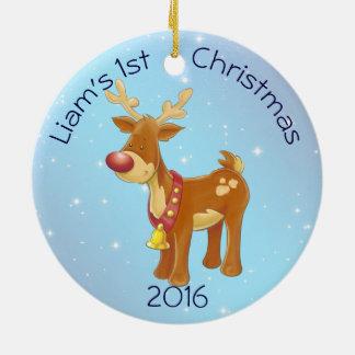 Rudolph lindo para el 1r navidad del bebé adorno navideño redondo de cerámica