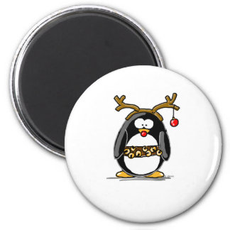 Rudolph penguin 2 inch round magnet