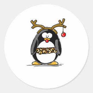 Rudolph penguin classic round sticker