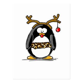 Rudolph penguin postcard