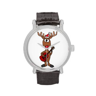 Rudolph Red Nosed Reindeer Playing Guitar Watches