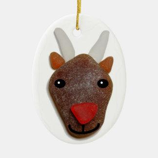 Rudolph Sea Glass Christmas Ornament