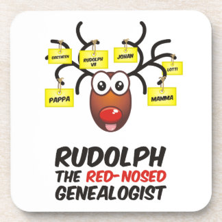 Rudolph The Red-Nosed Genealogist Beverage Coaster