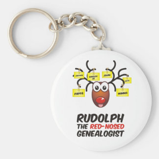 Rudolph The Red-Nosed Genealogist Keychains