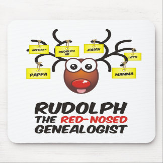 Rudolph The Red-Nosed Genealogist Mouse Pad
