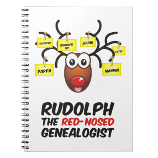 Rudolph The Red-Nosed Genealogist Spiral Note Book