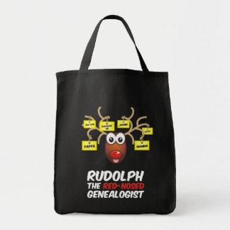 Rudolph The Red-Nosed Genealogist Tote Bags