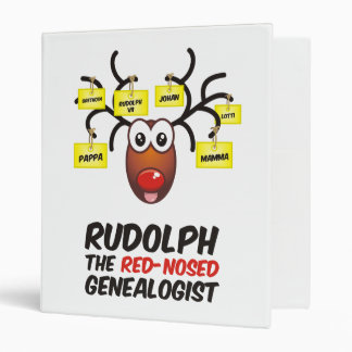 Rudolph The Red-Nosed Genealogist Vinyl Binder