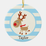 Rudolph the Red Nosed Reindeer; Blue Stripes Christmas Tree Ornaments