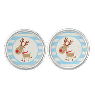 Rudolph the Red Nosed Reindeer; Blue Stripes Cufflinks