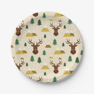 Rudolph the Reindeer Pine Trees and Mountains Paper Plate