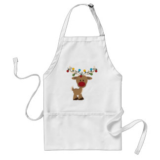 Rudolph_with_Christmas_Lights Adult Apron