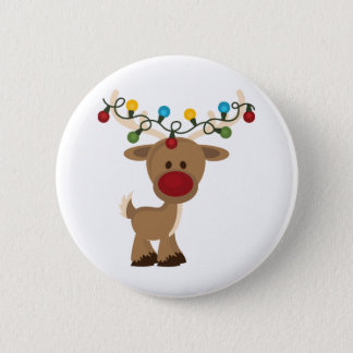 Rudolph_with_Christmas_Lights Pinback Button
