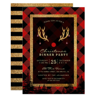 Rudolph's Antlers American Christmas Dinner Party Card at Zazzle