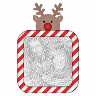 Rudy Reindeer Candy Cane Frame Tree Ornament