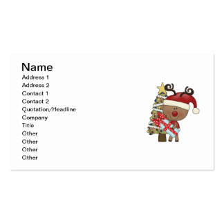 Rudy Reindeer Holiday Tree Business Card Template