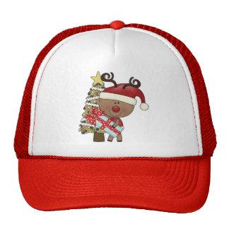 Rudy Reindeer Holiday Tree Trucker Hats