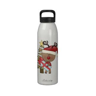 Rudy Reindeer Holiday Tree Water Bottles