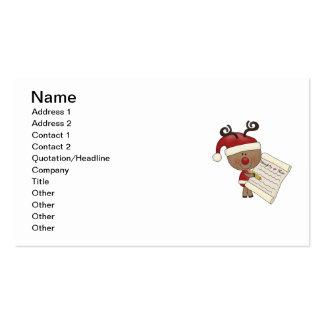 Rudy Reindeer Naughty or Nic Business Card Templates