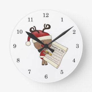 Rudy Reindeer Naughty or Nic Round Wall Clocks