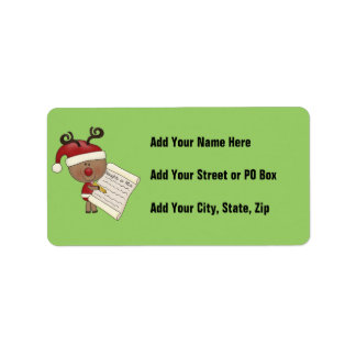 Rudy Reindeer Naughty or Nic Personalized Address Labels