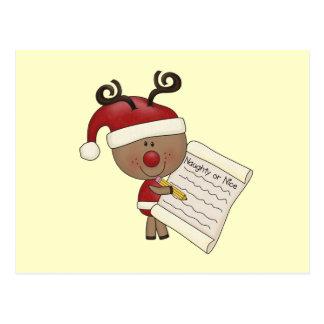 Rudy Reindeer Naughty or Nic Postcard
