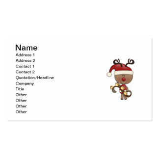 Rudy Reindeer With Bells Business Card Templates