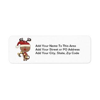 Rudy Reindeer With Bells Labels