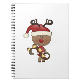 Rudy Reindeer With Bells Spiral Note Books