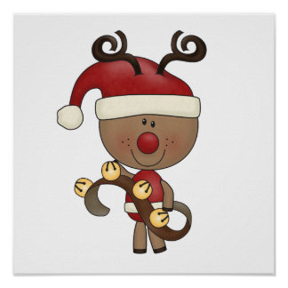 Rudy Reindeer With Bells Poster