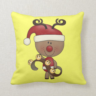 Rudy Reindeer With Bells Throw Pillow