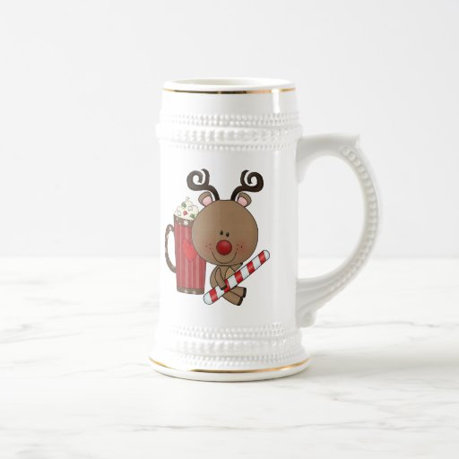 Rudy Reindeer With Cocoa 18 Oz Beer Stein