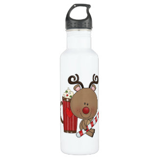 Rudy Reindeer With Cocoa 24oz Water Bottle