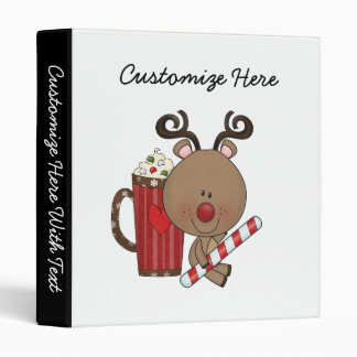 Rudy Reindeer With Cocoa 3 Ring Binders