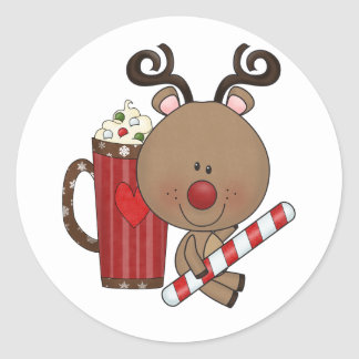 Rudy Reindeer With Cocoa Classic Round Sticker