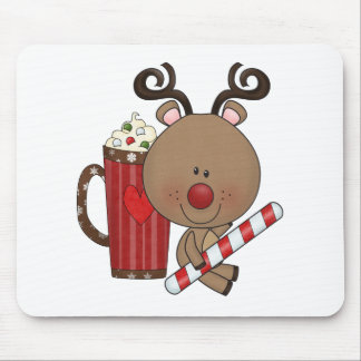 Rudy Reindeer With Cocoa Mousepads