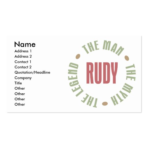 Rudy the Man the Myth the Legend Double-Sided Standard Business Cards (Pack Of 100)