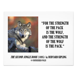 Rudyard Kipling Strength Of the Pack Wolf Quote Personalized Invite