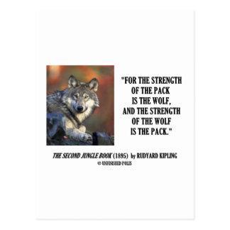 Rudyard Kipling Strength Of the Pack Wolf Quote Postcard