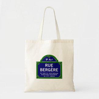Rue Bergere, Paris Street Sign Tote Bag